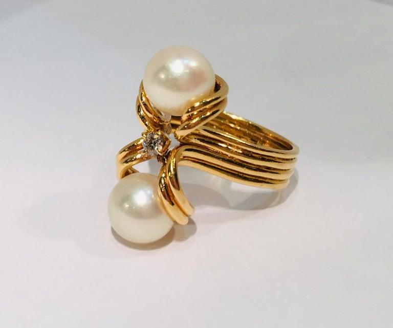 Round Cut Elegant Custom 18 Karat Yellow Gold Double White Pearls and Diamond