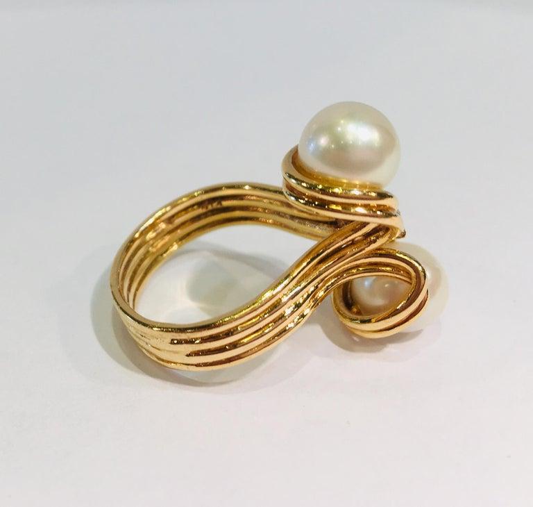 Women's Elegant Custom 18 Karat Yellow Gold Double White Pearls and Diamond