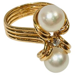 "Elegant Custom 18 Karat Yellow Gold Double White Pearls and Diamond ""OxO"" Ring"