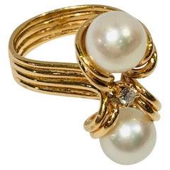 "Elegant Custom 18 Karat Yellow Gold Double White Pearls and Diamond ""OxO"" Ring"