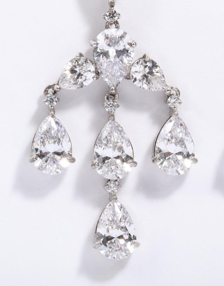 Elegant CZ Sterling Silver Antique Style Dangling Earrings In New Condition For Sale In New York, NY