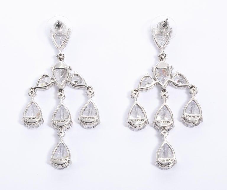 Women's Elegant CZ Sterling Silver Antique Style Dangling Earrings For Sale