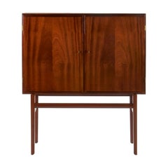 Elegant Danish 2 Door Cabinet in Mahogany with Brass Fittings, 1950s