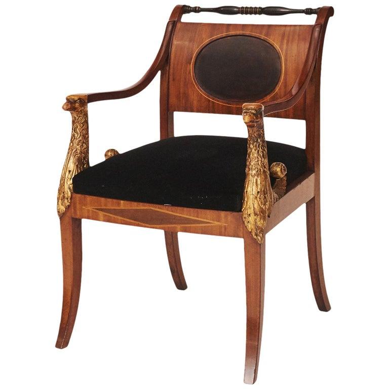 Elegant Danish Empire Armchair, circa 1810 For Sale