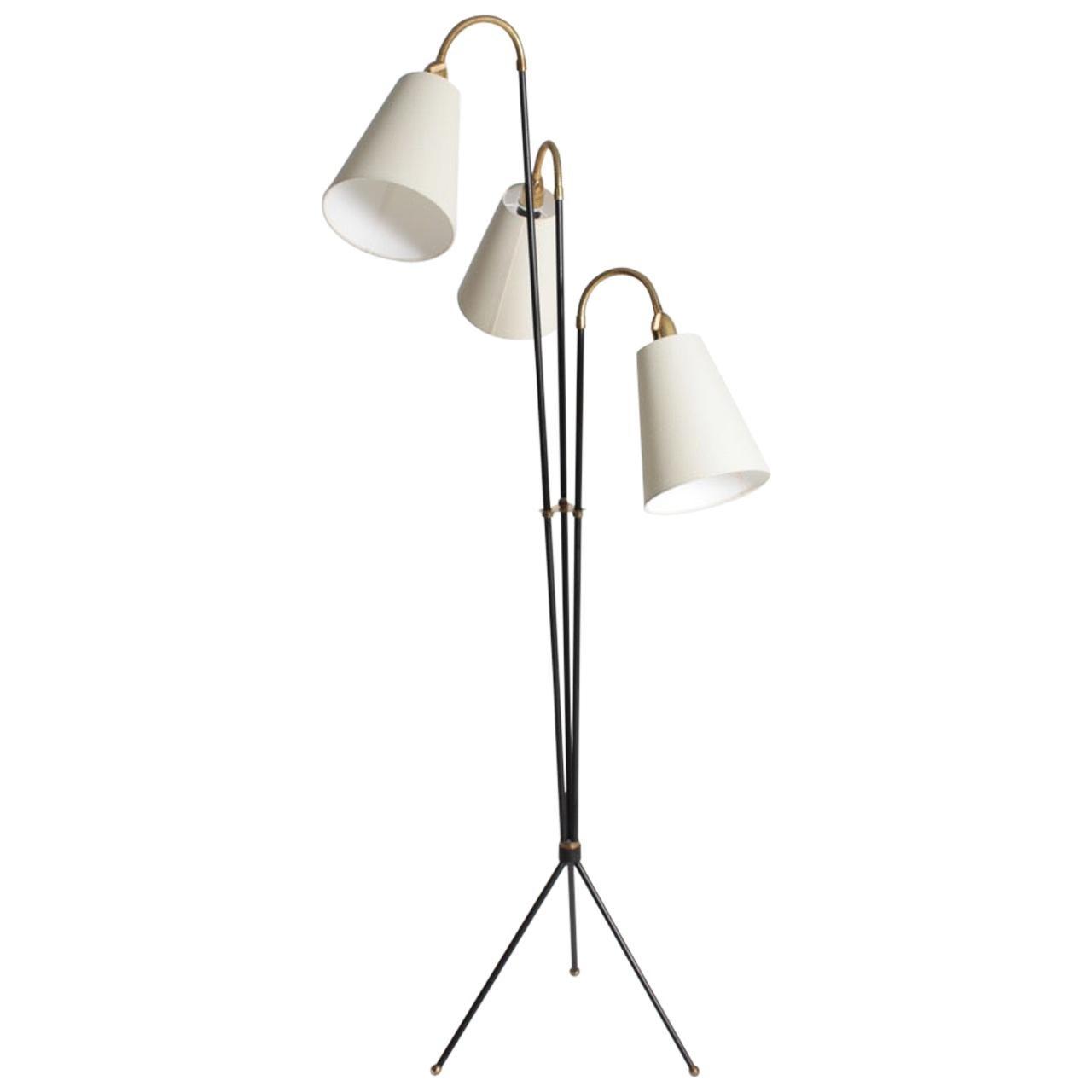 Elegant Danish Midcentury Floor Lamp by Holm Sorensen, 1950s