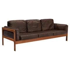 Elegant Danish Sofa in Brown Leather