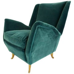 Elegant Deep Green Velvet for This Cozy Armchair Produced by ISA, Italy, 1959