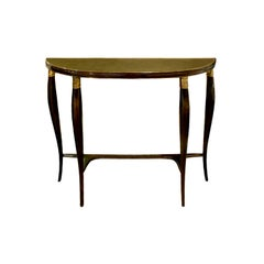 Elegant Demilune Shaped Console with Gilt Glass Top, 1950s