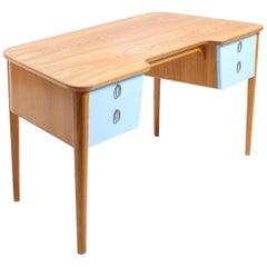 Elegant Desk in Elm and Blue Drawers, Swedish Modern, 1940s