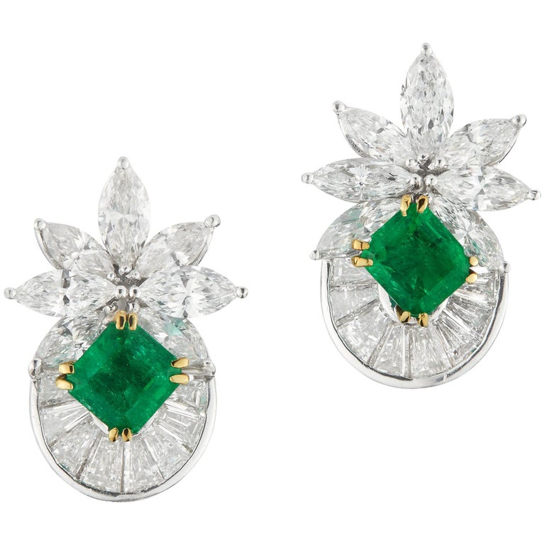 Elegant Diamond and Emerald Earrings For Sale