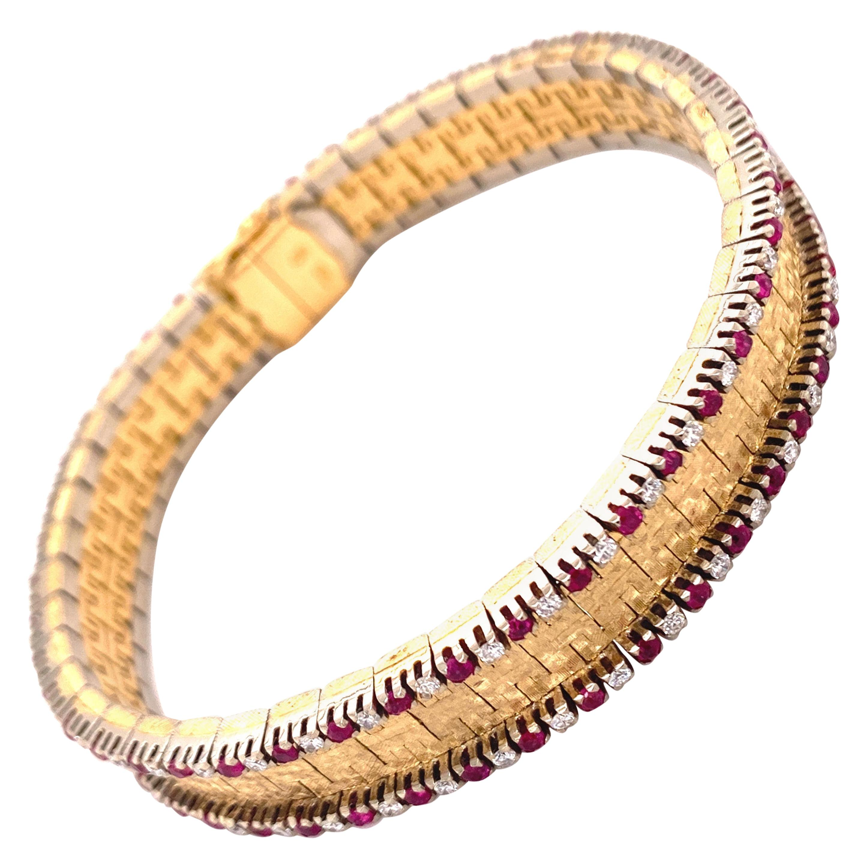 Elegant Diamond and Ruby Bracelet in 18 Karat Yellow and White Gold