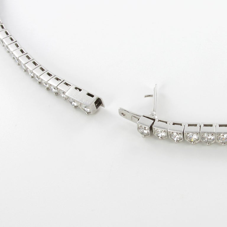 Elegant Diamond and Sapphire Necklace in 950 Platinum by Schilling For Sale 4