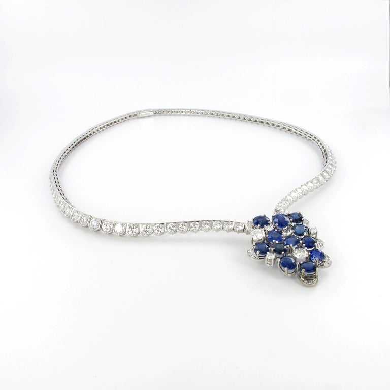 Contemporary Elegant Diamond and Sapphire Necklace in 950 Platinum by Schilling For Sale
