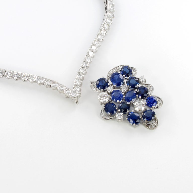 Oval Cut Elegant Diamond and Sapphire Necklace in 950 Platinum by Schilling For Sale