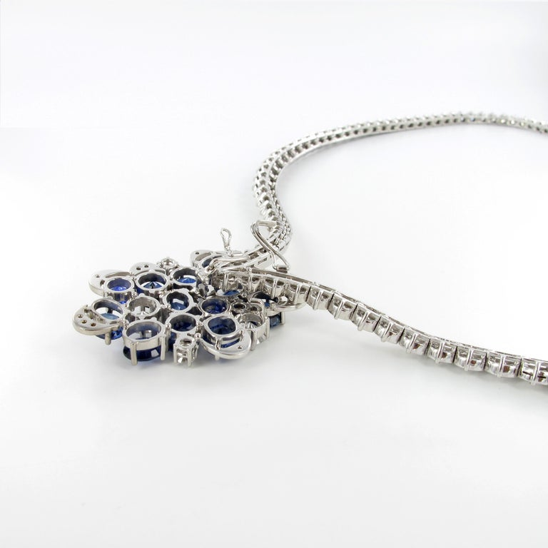 Elegant Diamond and Sapphire Necklace in 950 Platinum by Schilling For Sale 2