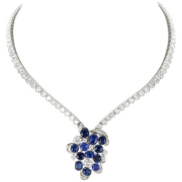 Elegant Diamond and Sapphire Necklace in 950 Platinum by Schilling For Sale