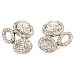 Elegant Diamond Ear Clips in White Gold by Gubelin