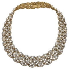 Elegant Diamond Encrusted Pearl Lattice Necklace, Approximately 14Cts Diamonds