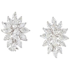 Elegant Diamond Gold Cluster Earrings