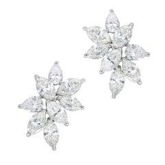 Elegant Diamond Platinum Cluster Earrings