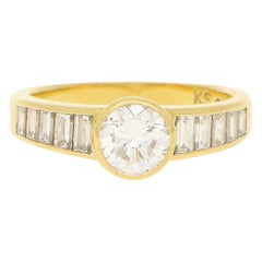 Art Deco Style Diamond Engagement Ring Set in 18k Yellow Gold