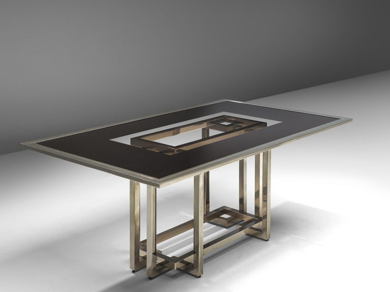European Elegant Dining Table in Glass and Chrome For Sale