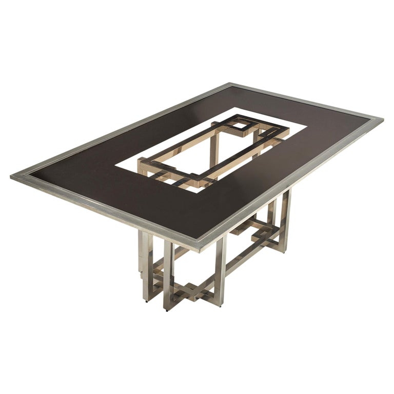 Elegant Dining Table in Glass and Chrome For Sale