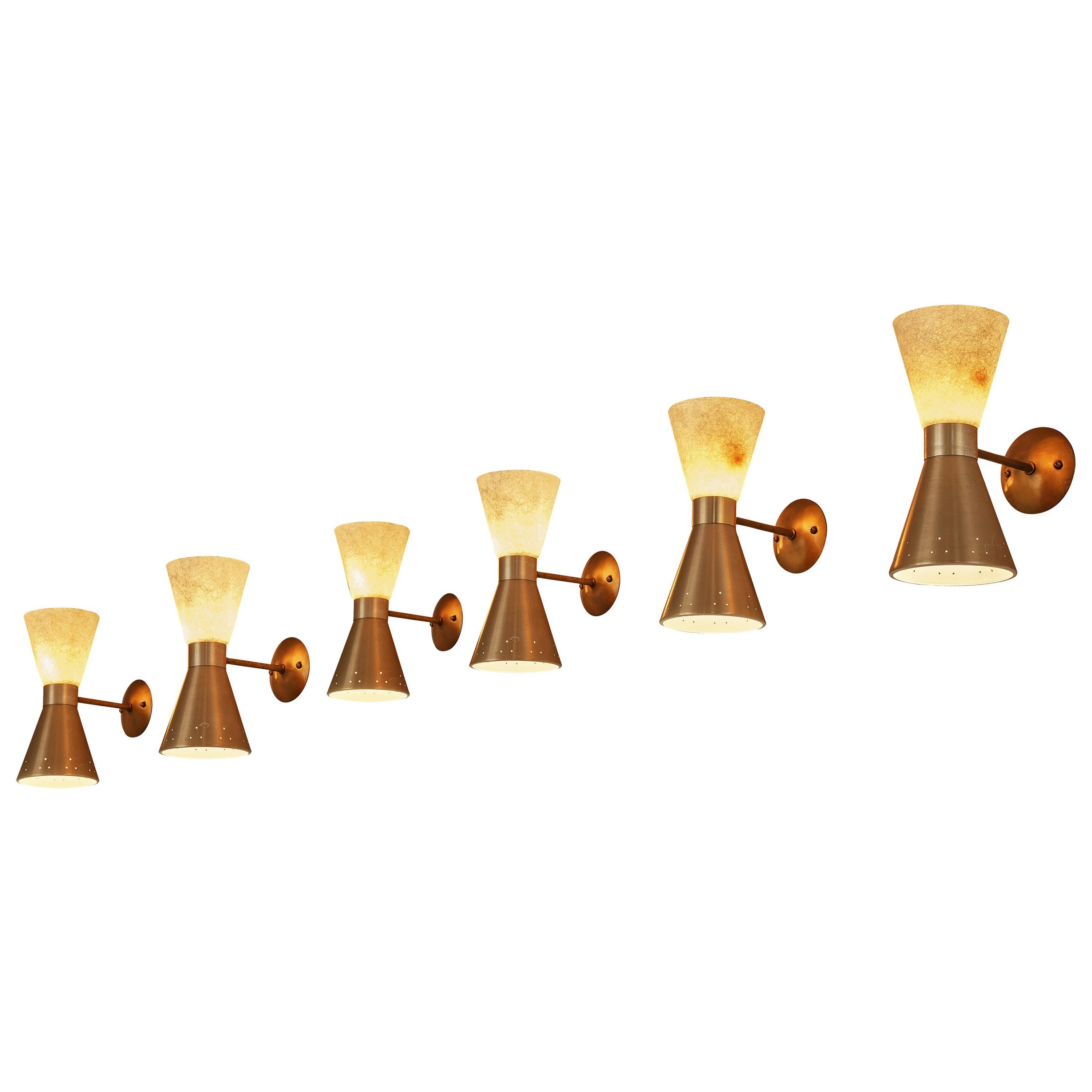Elegant Double-Cone Wall Lights in Brass and Fiberglass