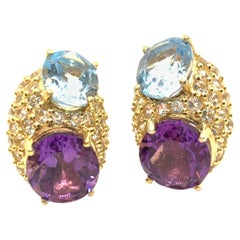 Elegant Double Oval Blue Topaz and Amethyst with Pave Vermeil Earrings