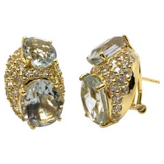 Elegant Double Oval Green Amethyst with Pave White Topaz Vermeil Earrings
