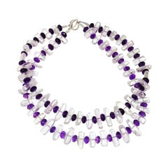 Elegant Double Strand Necklace of Sparkling Transparent Kunzite and Amethyst