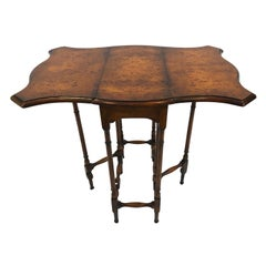 Elegant Dropleaf Gateleg Burl Wood Side Table by Theodore Alexander