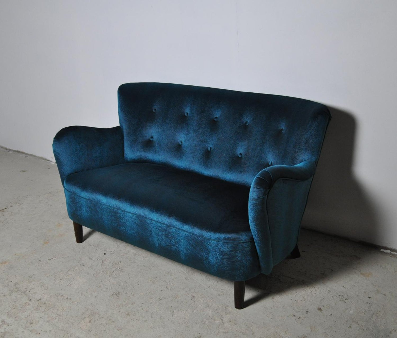 Elegant Early Midcentury Curved Sofa in Blue Velvet New ...