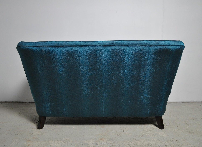 Swell Elegant Early Midcentury Curved Sofa In Blue Velvet New Upholstery Cjindustries Chair Design For Home Cjindustriesco