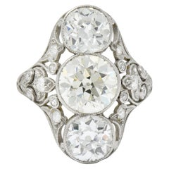 Elegant Edwardian 4.24 Carat Diamond Platinum Three-Stone Dinner Ring