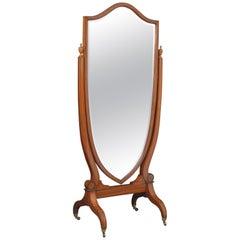 Elegant Edwardian Inlaid Satinwood Cheval Mirror