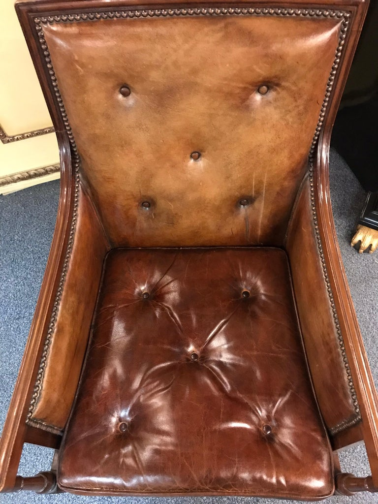 Elegant Empire Armchair / Lounge Chair, England Victorian Mahogany For Sale 11