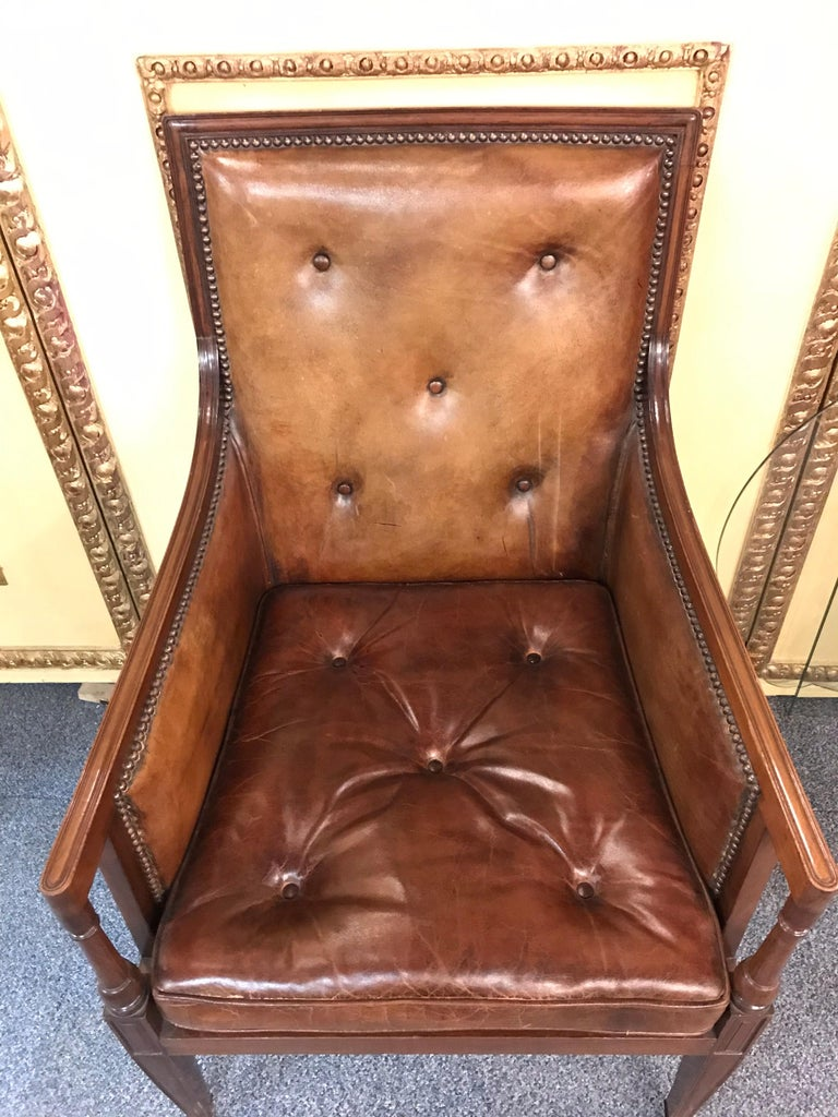 Elegant Empire Armchair / Lounge Chair, England Victorian Mahogany For Sale 12