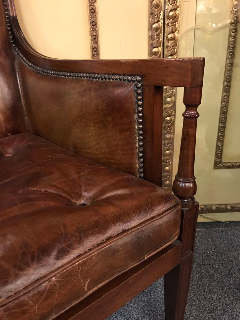 Elegant Empire Armchair / Lounge Chair, England Victorian Mahogany For Sale 1