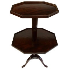 Elegant English Adjustable 2-Tier Mahogany Side Table