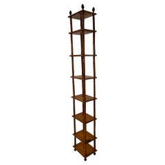 Elegant English Antique Elongated Tall Bamboo Bookshelf Etagere