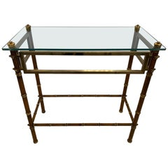 Elegant English Brass and Glass Faux Bamboo Style Console Table