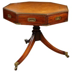 Elegant English Campaign Style Drum Table