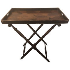 Elegant English Georgian Style Folding Tray on Folding Stand