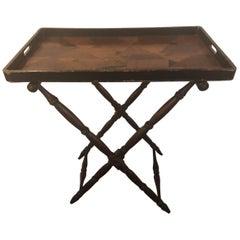 Elegant English Georgian Style Folding Tray on Folding Stand