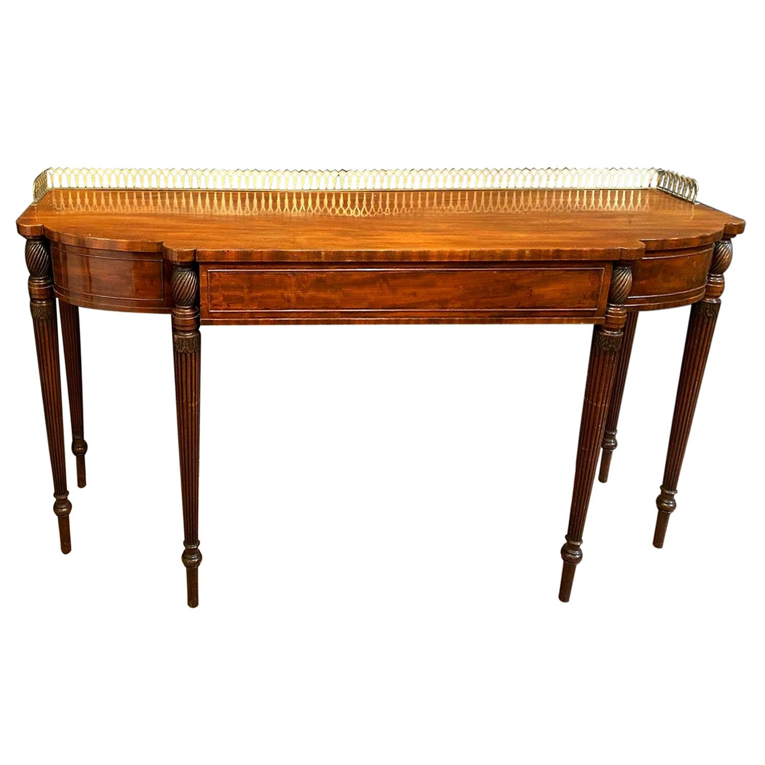 Elegant English Mahogany Ormolu Mounted Dessert Console Table, circa 1810