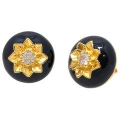 Elegant Engraved Flower Black Enamel Round Stud Sterling Silver Earrings
