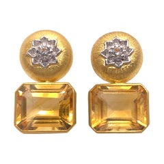 Elegant Engraved Flower Pattern with Brazilian Citrine Drop Vermeil Earrings