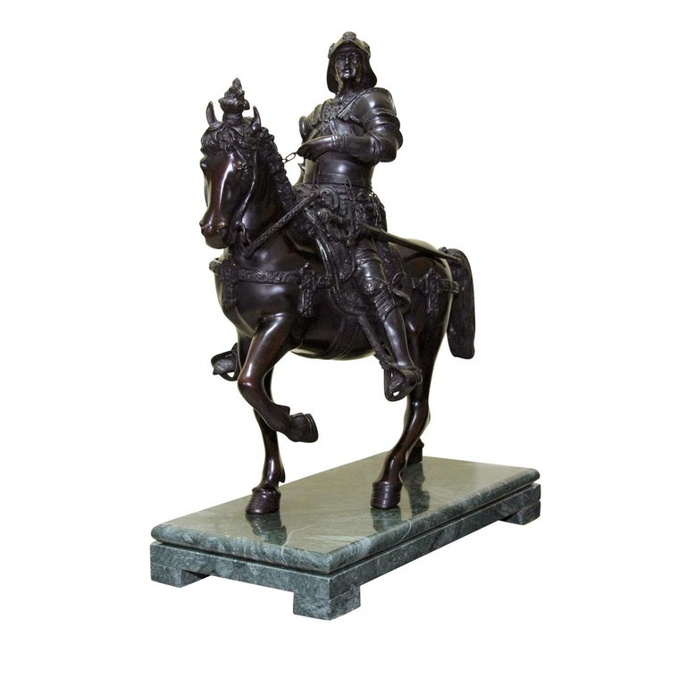 Inspired by the Renaissance equestrian statue of the warrior and Venetian captain-general Bartolomeo Colleoni by Andrea del Verrocchio located in Venice, this exquisite statuette is entirely executed in bronze with the lost-wax casting technique and