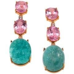 Elegant, Evening Earrings of Kunzite and Amazonite